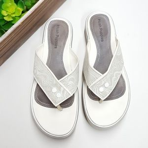 Hush Puppies white flip flop sandals